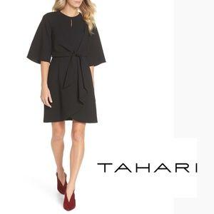 TAHARI - Tie Front Crepe Sheath Dress
